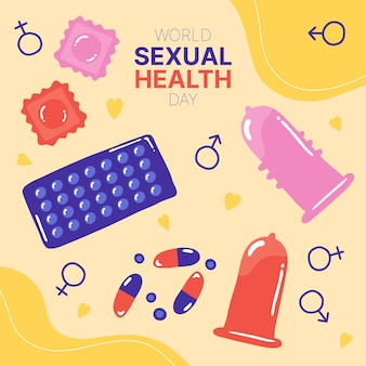 Illustration de la journée mondiale de la santé sexuelle dessinée à la main