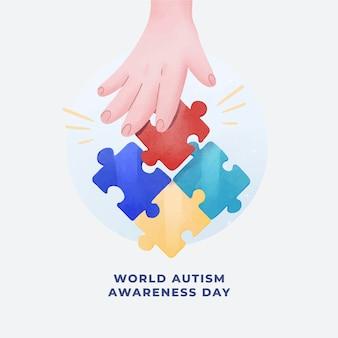 Illustration de la journée mondiale de sensibilisation à l'autisme aquarelle avec des pièces de puzzle