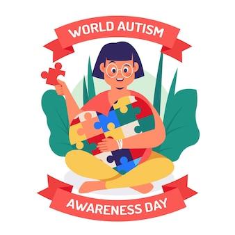 Illustration de la journée mondiale de sensibilisation à l'autisme dessinée à la main