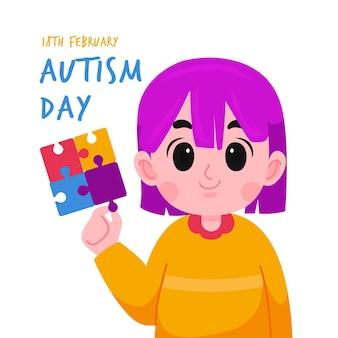 Illustration de la journée mondiale de sensibilisation à l'autisme avec des pièces de puzzle