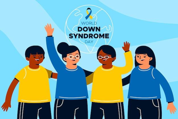 Illustration de la journée mondiale de la trisomie 21 avec des gens qui s'embrassent