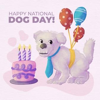 Illustration de la journée nationale du chien aquarelle peinte à la main