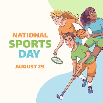 Illustration de la journée nationale du sport de dessin animé