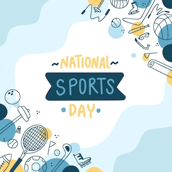 Illustration De La Journée Nationale Du Sport Dessinée à La Main Vecteur Premium