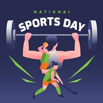 Illustration de la journée nationale du sport indonésien dégradé