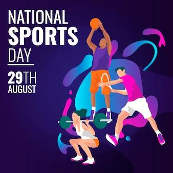Illustration de la journée nationale du sport indonésien dessiné à la main