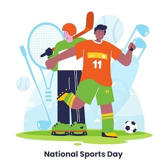 Illustration De La Journée Nationale Du Sport Plat Vecteur Premium
