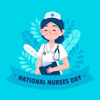 Illustration de la journée nationale des infirmières de dessin animé