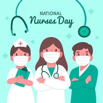 Illustration De La Journée Nationale Des Infirmières Dessinée à La Main Vecteur Premium