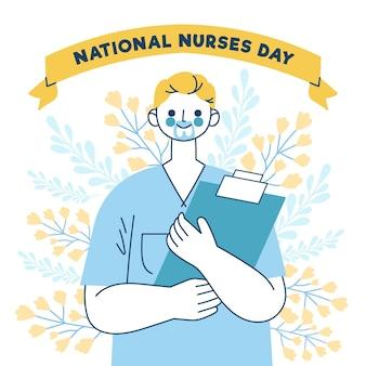 Illustration de la journée nationale des infirmières dessinée à la main