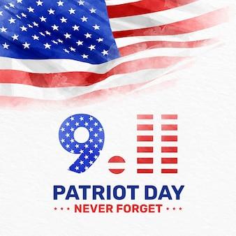 Illustration de la journée patriote 9.11 aquarelle