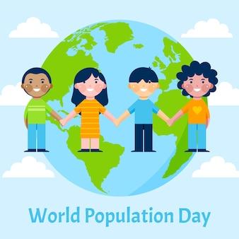 Illustration de la journée de la population mondiale plate organique