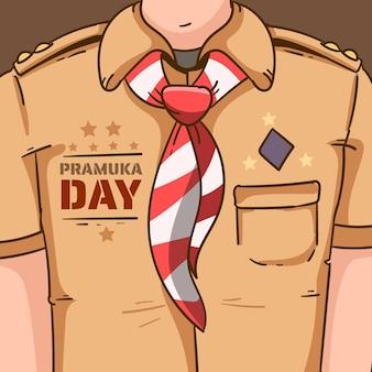 Illustration de la journée pramuka dessinée à la main