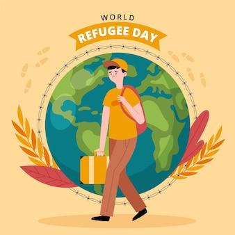 Illustration de la journée des réfugiés du monde plat organique