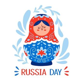 Illustration de la journée de la russie dessinée à la main