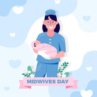 Illustration de la journée des sages-femmes plates