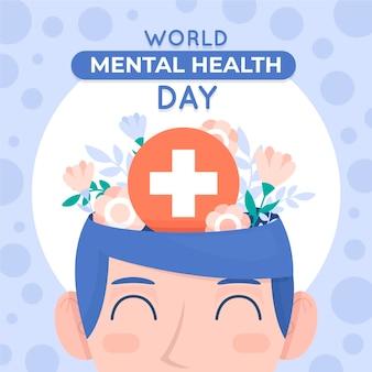 Illustration de la journée de la santé mentale design plat