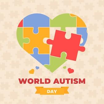 Illustration de la journée de sensibilisation à l'autisme dans le monde plat