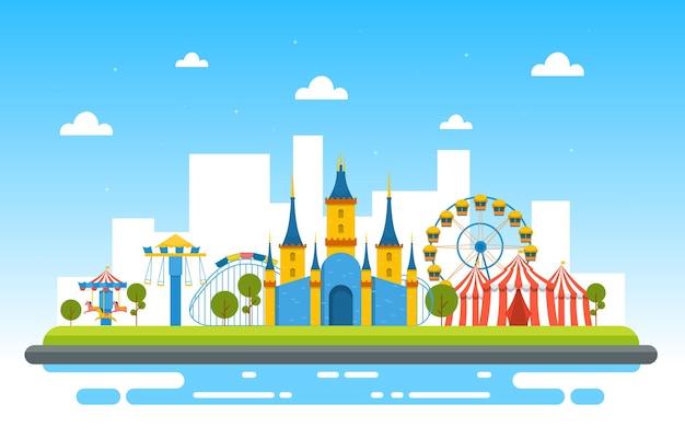 Illustration de joyeuses fêtes du parc d'attractions du cirque du château