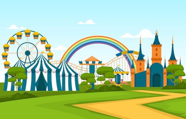Illustration de joyeuses fêtes du parc d'attractions de la grande roue du château