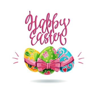 Illustration de joyeuses fêtes de pâques avec des oeufs colorés et une inscription.