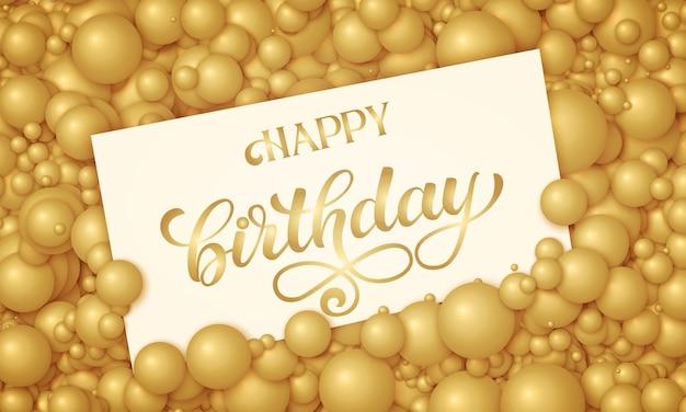 Illustration de joyeux anniversaire de carte blanche placée dans des perles ou des sphères dorées.