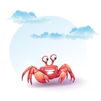 Illustration joyeux crabe sur fond de ciel