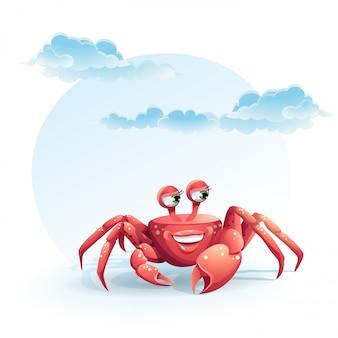 Illustration joyeux crabe
