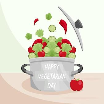 Illustration joyeux jour végétarien concep