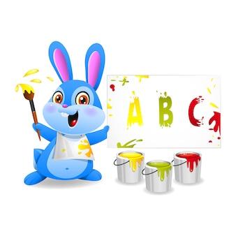 Illustration joyeux lapin dessine sur papier, format eps 10