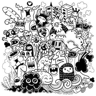 Illustration de joyeux monstre, style doodle