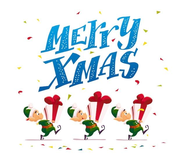 Illustration de joyeux noël avec le père noël elfes drôles portent des coffrets cadeaux isolés