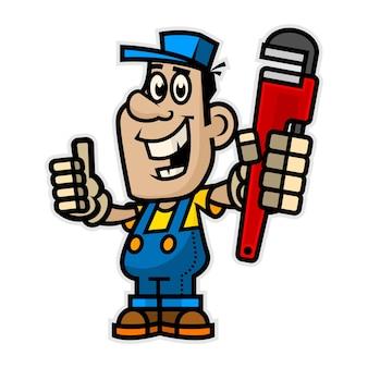 Illustration joyeux plombier tenant une clé à pipe, format eps 10
