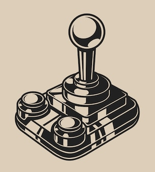 Illustration d'un joystick de jeu dans un style vintage sur un blanc