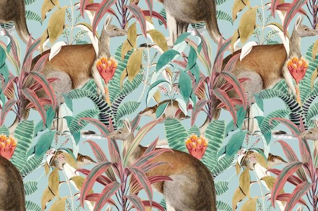 Illustration de la jungle de fond motif kangourou