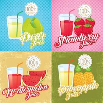 Illustration de jus de fruits vintage