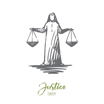 Illustration de la justice à la main