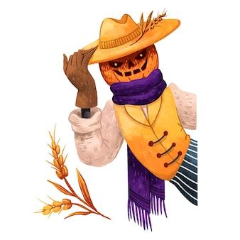 Illustration juteuse de jack la citrouille pour l'épouvantail d'halloween avec des mains effrayantes la moitié du corps regarde du côté, illustration du blé