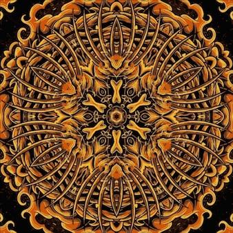 Illustration de kaléidoscope de modèle sans couture géométrique, peinture de style oriental
