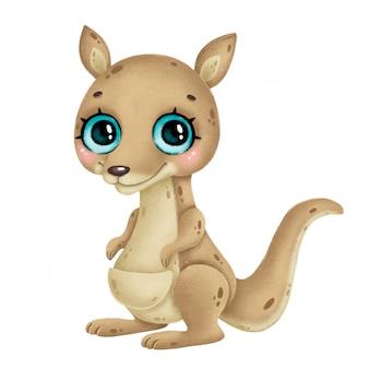 Illustration d'un kangourou mignon de bande dessinée avec de grands yeux isolé