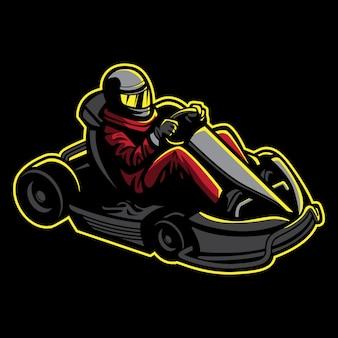 Illustration de karting dans un style rétro