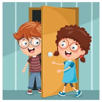 Illustration de kid accueillant