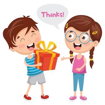 Illustration de kid donner merci
