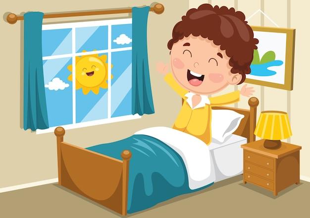 Illustration de kid se réveiller