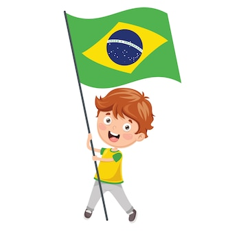 Illustration de kid tenant le drapeau du brésil