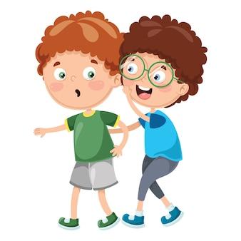 Illustration de kid whispering