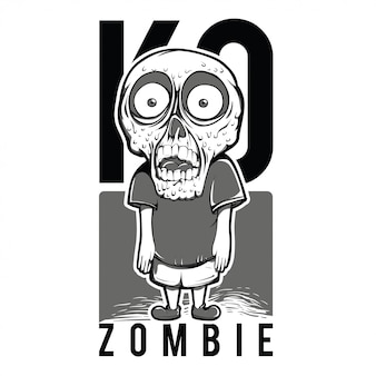 Illustration de kid zombie en noir et blanc