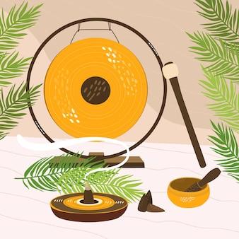 Une illustration d'un kit de méditation qui comprend un gong, un bol chantant et de l'encens brûlant.