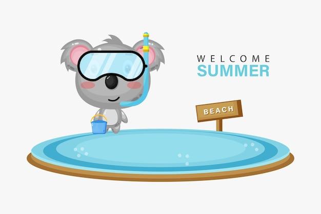 Illustration d'un koala mignon nageant sur la plage avec des salutations d'été