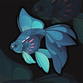 Illustration de koi fis à colorier animal zentangle stylisé